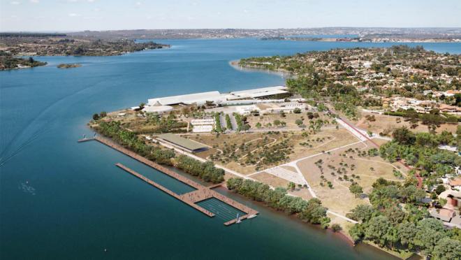 Proposta vencedora no concurso para requalificação da orla do Lago Paranoá, em Brasília