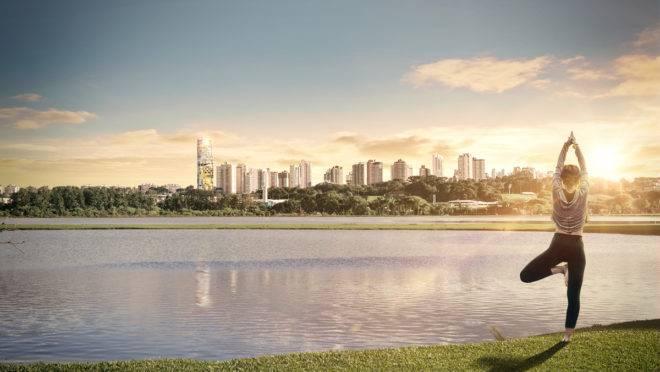 AGE 360, novo empreendimento da AG7, ao fundo, é o primeiro edifício residencial do Brasil com certificação FitWel.