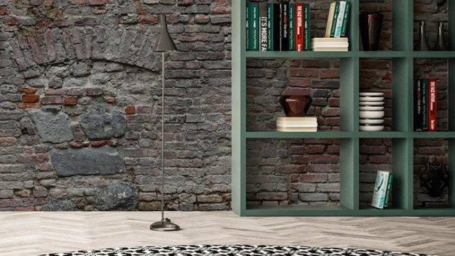Papel de parede em impressão digital de alta resolução que imita tijolinhos e linguagem industrial perfeita.