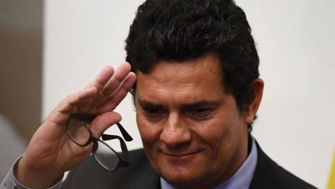 Sergio Moro após conferência de imprensa em que anunciou sua demissão do governo.