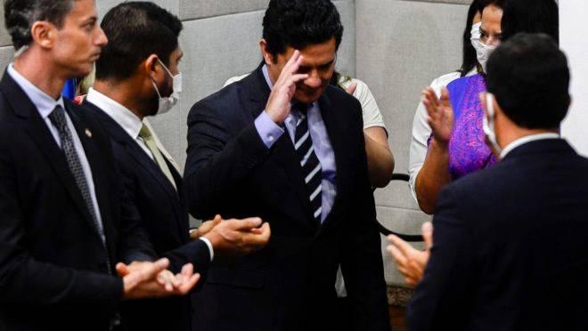 O ministro da Justiça e Segurança Pública, Sergio Moro, anuncia sua demissão