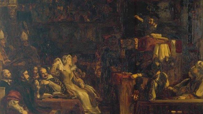 """Detalhe de """"John Knox pregando aos Lordes da Congregação"""", de David Wilkie (1832)."""