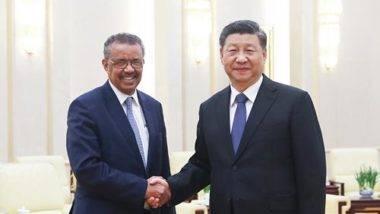 O diretor-geral da OMS, Tedros Adhanom, e o presidente chinês, Xi Jinping