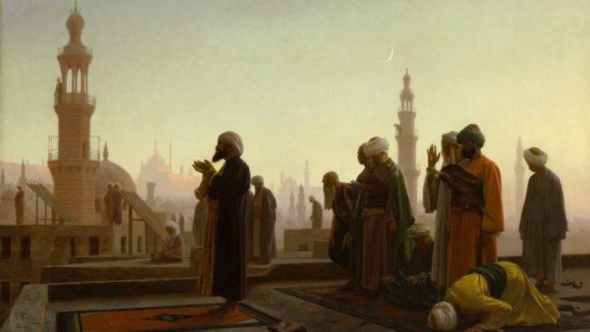 Muçulmanos rezam em pintura de Jean-Léon Gérôme: países islâmicos pressionaram durante anos para qualificar as críticas ao Islã como preconceito religioso.