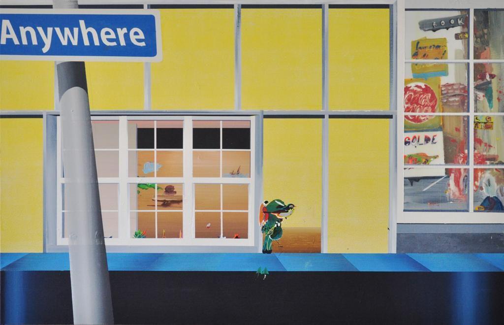 """Obra """"Anywhere"""", de Willian Santos, na SOMA Galeria, em acrílica e mel sobre tela."""