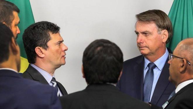 Sergio Moro e Jair Bolsonaro, em reunião em fevereiro de 2020