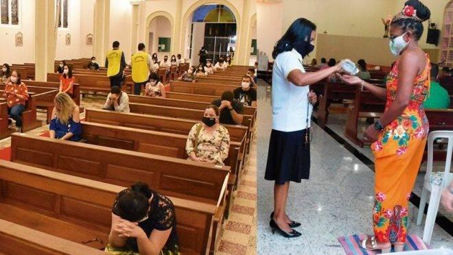 Missa em Goiânia com medidas para o distanciamento entre os fiéis