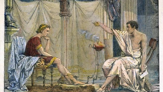 Aristóteles ensinando Alexandre, o Grande, de Charles Laplante (1866).