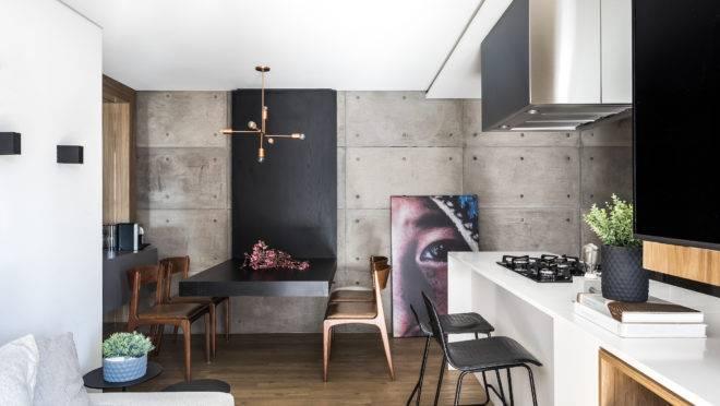 Projeto da UNIC Arquitetura para apartamento de 65 m² une multifuncionalidade com linguagem industrial.