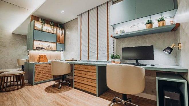 Projeto de home office executado durante a quarentena pela designer de interiores Bruna Justi.