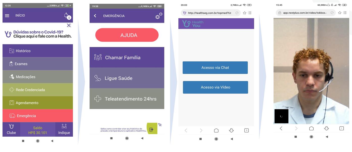 O aplicativo faz o monitoramento e permite o contato com enfermeiros para orientar o paciente. Foto: Divulgação/HealthYou