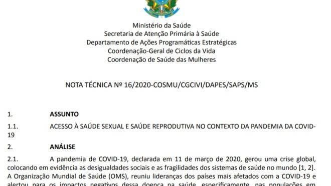 A nota técnica publicada pelo Ministério da Saúde, que cita o aborto legal.