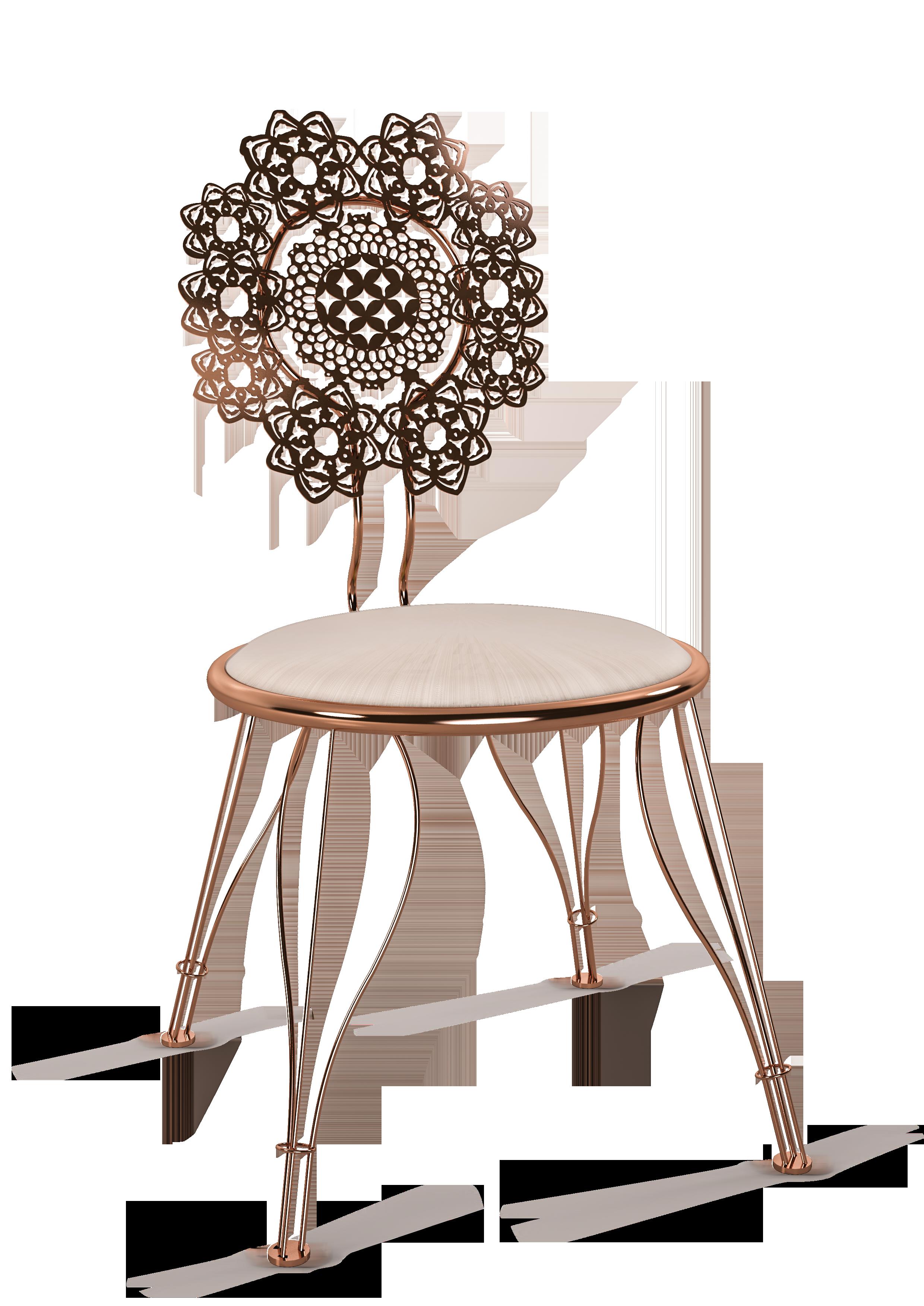 Cadeira Fla, com encosto em renda autoral assinada por Pedro Franco e corte a laser. Foto: Divulgação