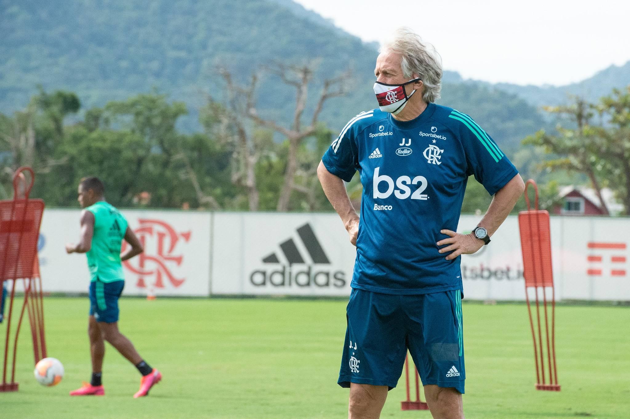 Jorge Jesus comanda treino no Flamengo. Foto: Alexandre Vidal/Flamengo.