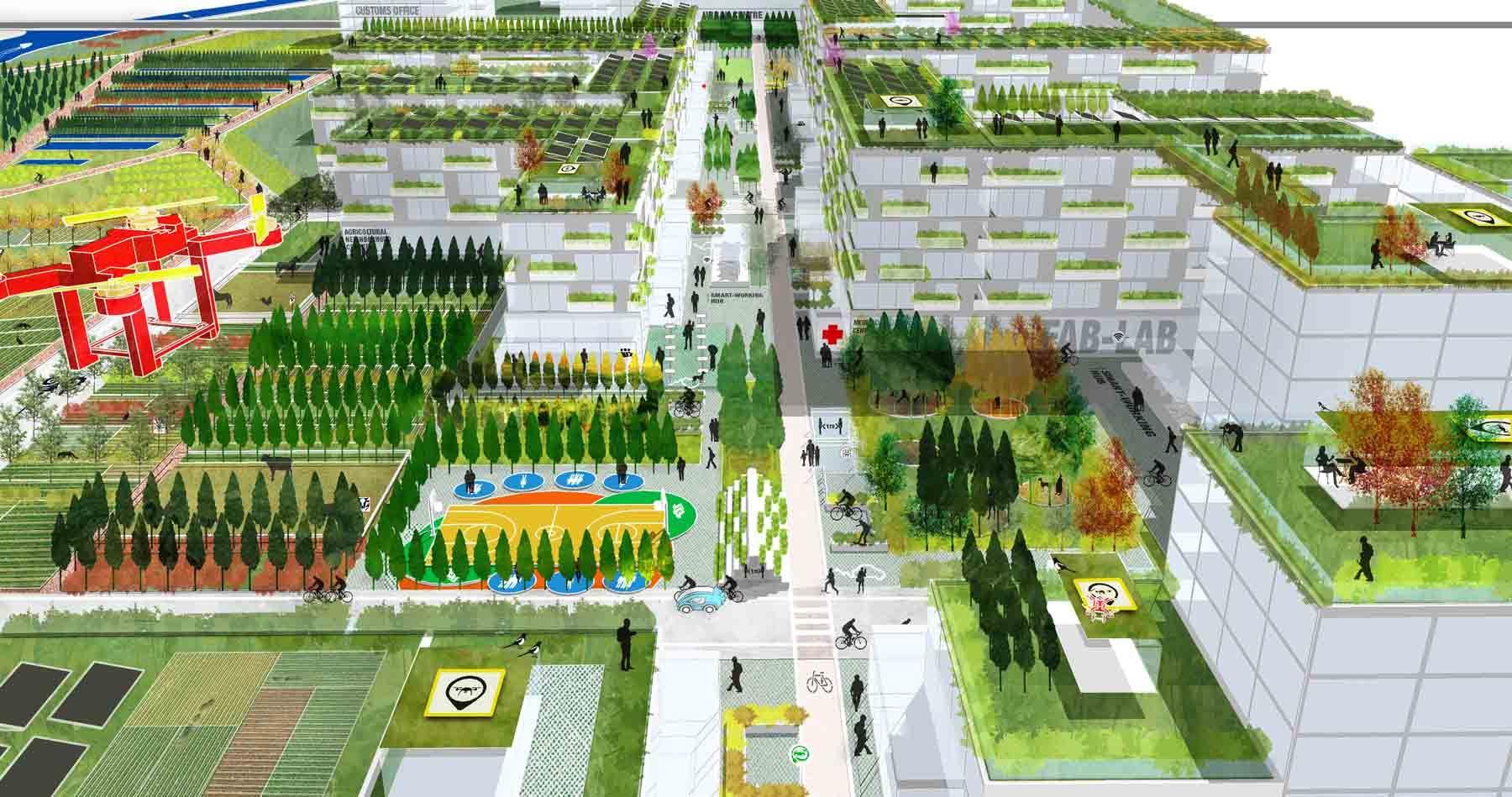 Os jardins nos telhados estão entre os destaques do projeto: coletivos, mas não necessariamente públicos. Foto: Stefano Boeri Architetti