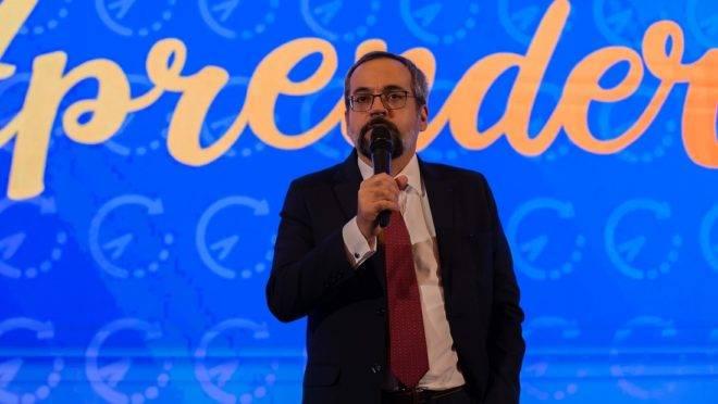 """O ministro da Educação, Abraham Weintraub, no lançamento do projeto """"Tempo de Aprender""""."""