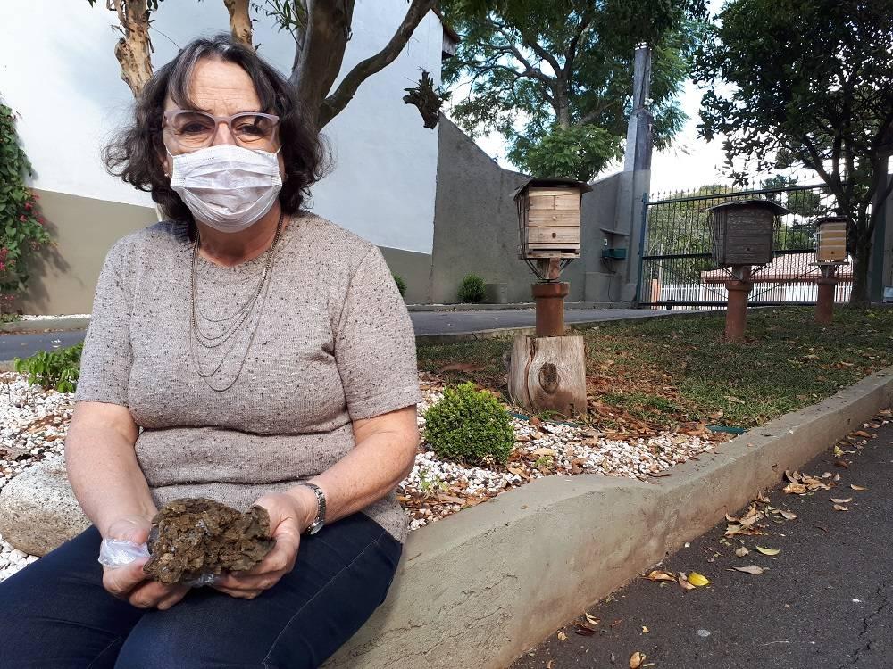 Dora Sommer, da Apisommer, de Curitiba, segura pedaço de própolis