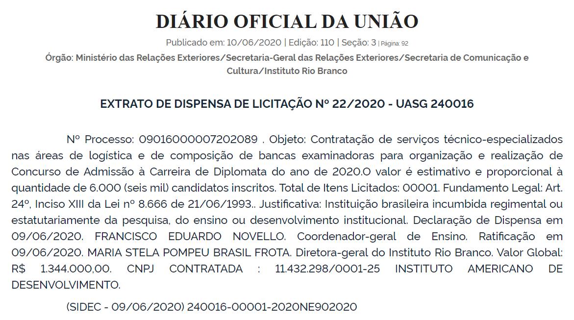 Reprodução do DOU de 10 de junho de 2020