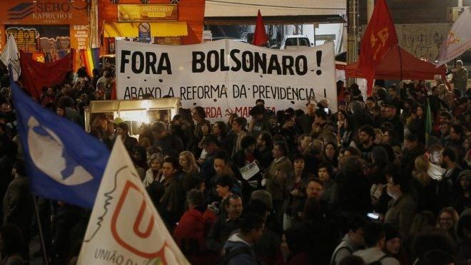 Protesto de estudantes contra Bolsonaro em agosto de 2019.
