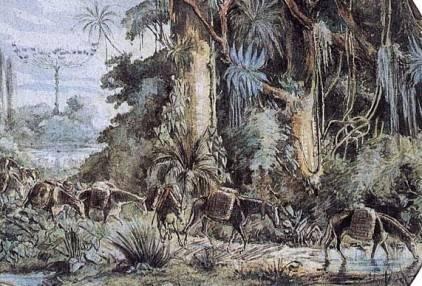 Obra de João Leão Pallière, tropa carregada de mate descendo a serra, cerca de 1860. Foto: Pintores da Paisagem Paranaense/Reprodução