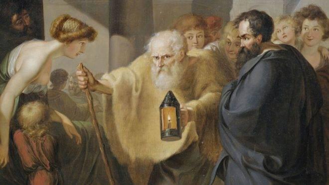 """""""Diógenes à procura de um homem honesto"""", atribuído a JHW Tischbein (c.1780)."""