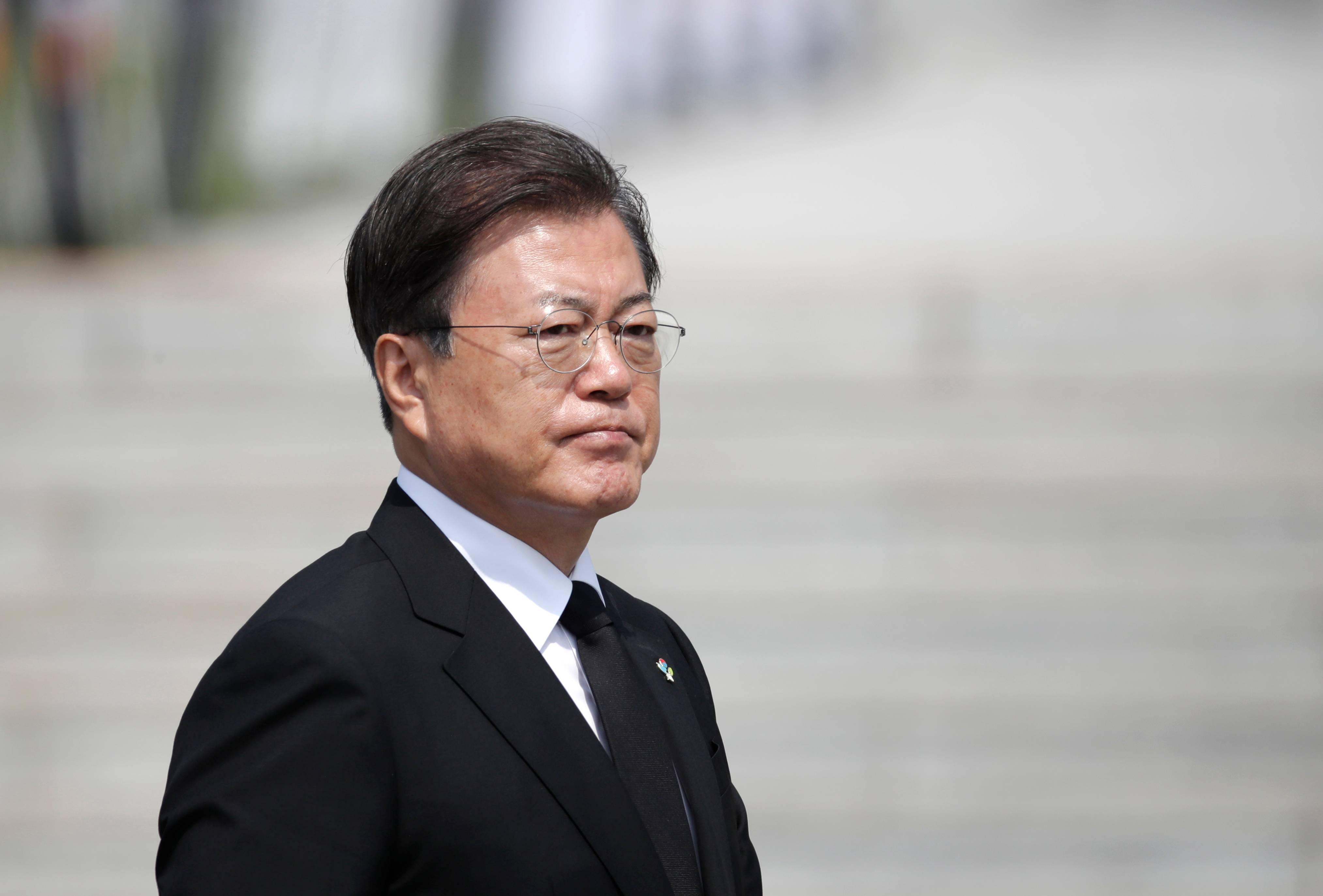 Presidente da Coreia do Sul, Moon Jae-in   FOTO: Lee Jin-man / POOL / AFP