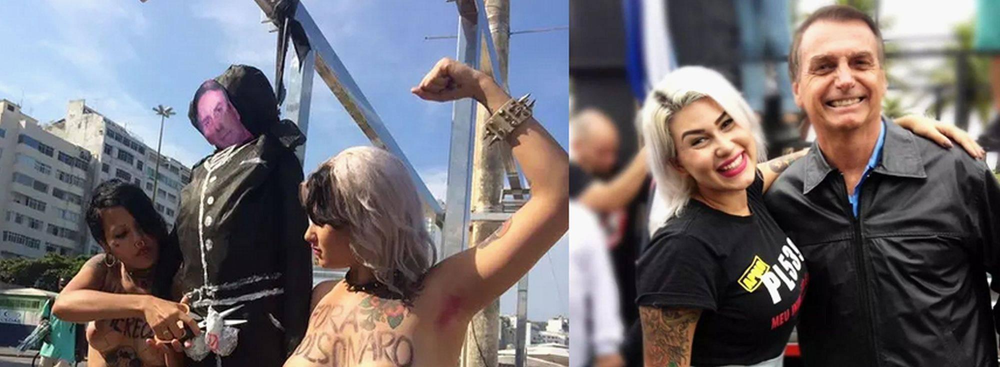 Sara Winter em protesto que simula castração de Bolsonaro e, depois, ao lado do presidente.