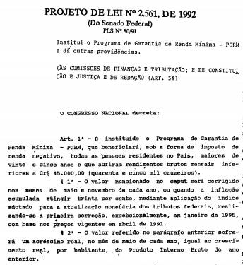 """Trecho do primeiro projeto de renda mínima apresentado por Suplicy no Senado Federal, ainda nos anos 1990. Primeira proposta envolvia o chamado imposto de renda negativo, mas depois o então senador abraçou a ideia da renda básica universal. Foto: Reprodução/<a href=""""http://imagem.camara.gov.br/Imagem/d/pdf/DCD24MAR1992.pdf#page=10"""" target=""""_blank"""" rel=""""noreferrer noopener"""" aria-label=""""Diário do Congresso Nacional (abre numa nova aba)"""">Diário do Congresso Nacional</a>."""