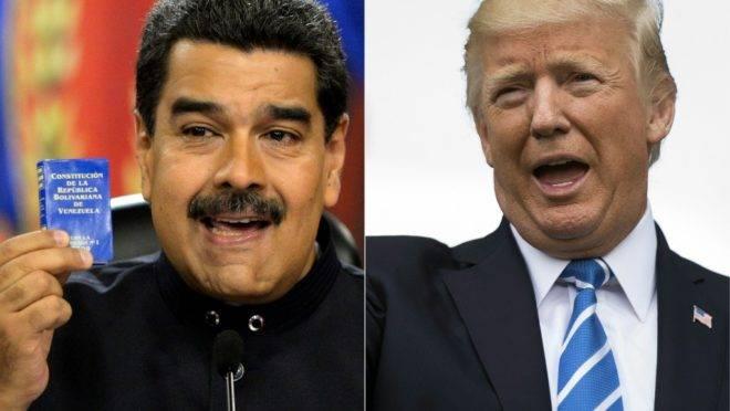 O ditador da Venezuela, Nicolás Maduro, e o presidente dos EUA, Donald Trump