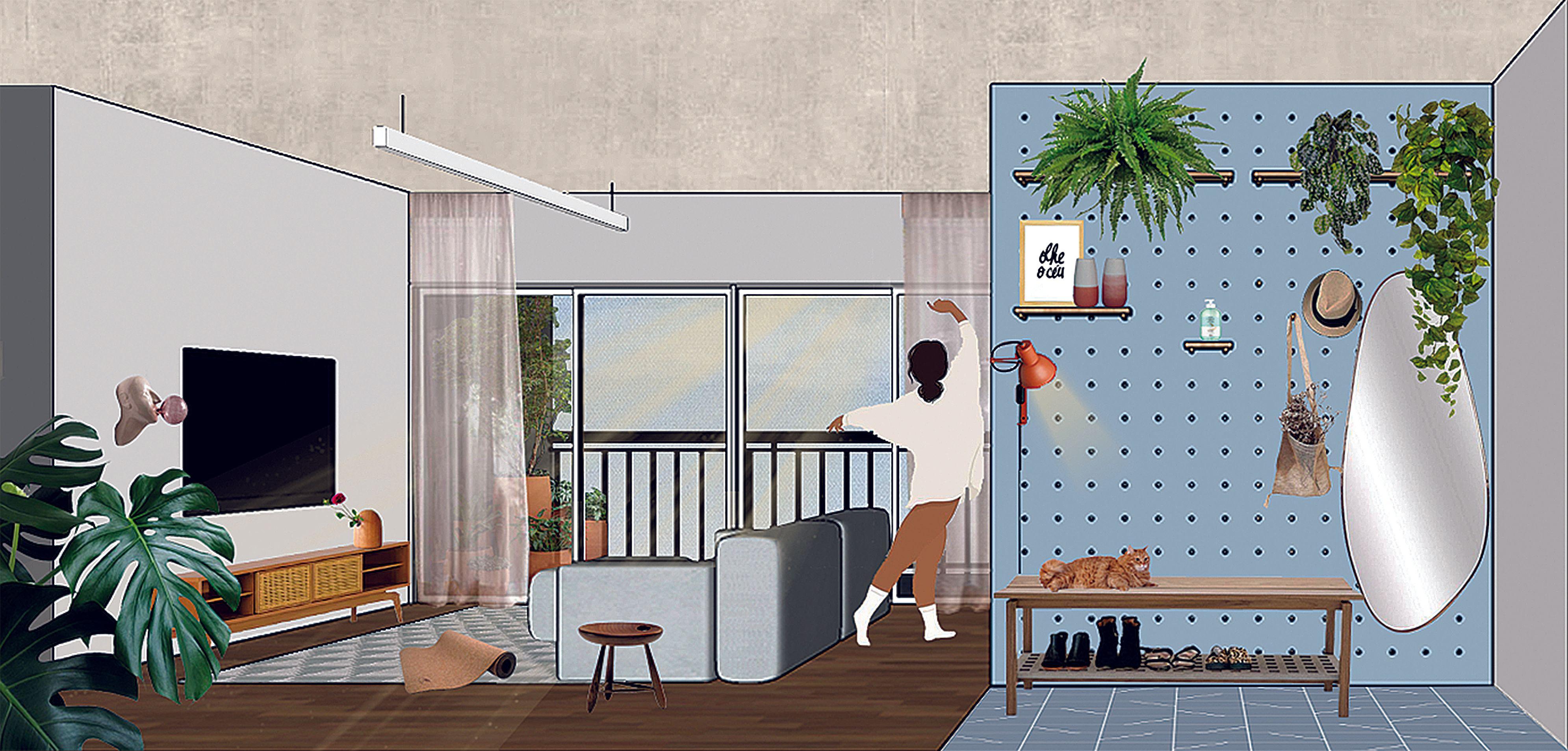 Hall de entrada e sala projetados pelo Studio Canto Arquitetura, exclusivamente para essa reportagem, com a proposta de uma casa do futuro. Imagem: Studio Canto Arquitetura