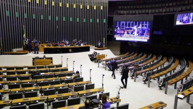 Plenário da Câmara dos Deputados em sessão remota