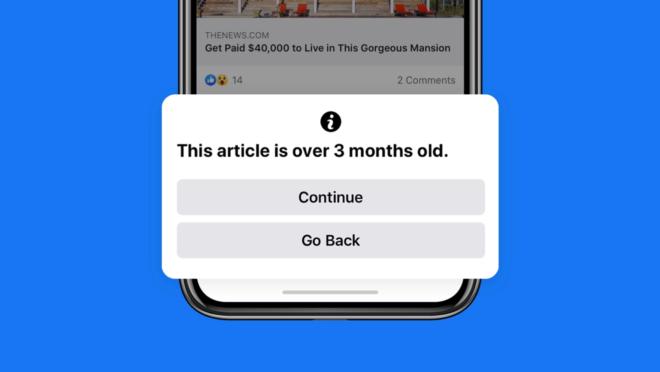 Facebook vai avisar quando usuário clicar em link publicado há mais de 90 dias.