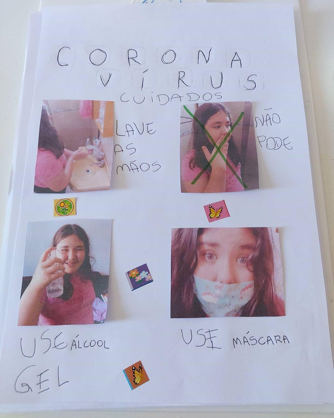 Cartaz feito por Laura, como atividade escolar, que ensina o que deve ser feito para a prevenção do coronavírus. Créditos: Reprodução/Instagram