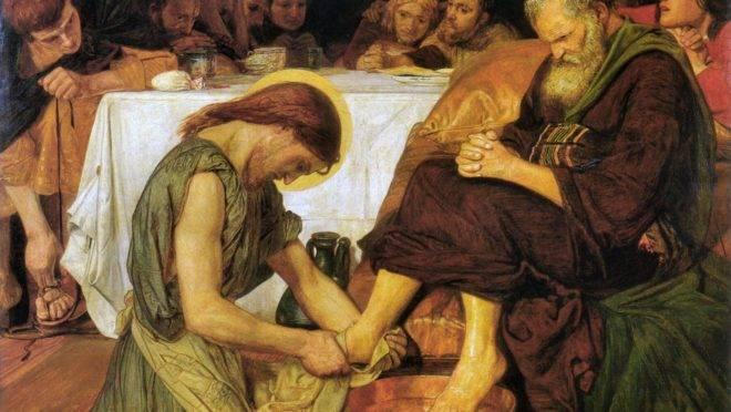 """""""Jesus lavando os pés de Pedro"""" (1852), de Ford Madox Brown."""