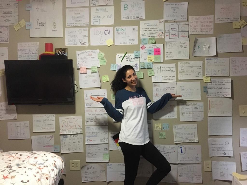 Renata Gomes diante da parede com anotações para estudo no quarto. Tampa, Florida-EUA   Arquivo pessoal