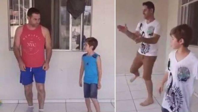 Além de ser uma distração durante a quarentena, a dança tem aproximado ainda mais o curitibano Leandro de seu filho Renan, de 7 anos.
