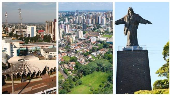 Fotomontagem de fotos de Cascavel, Londrina e Cornélio Procópio, cidades paranaenses que reduziram os casos ativos de coronavírus em 2 de julho de 2020.