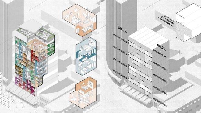 Repensar o uso de edifícios de uso exclusivo para escritórios: essa é a proposta do projeto H.O.M.E do Hiperstudio