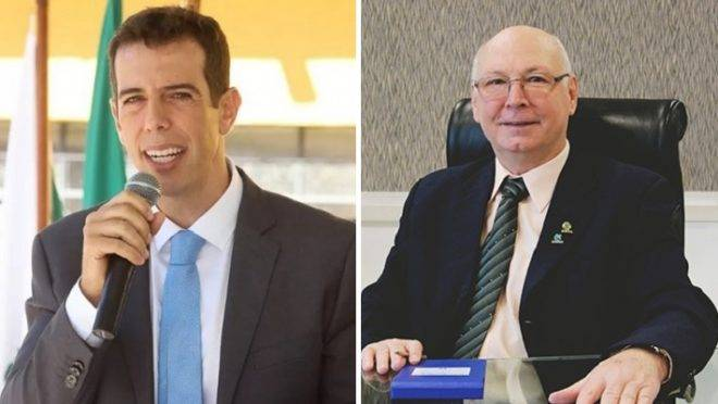 Renato Feder, secretário de educação do Paraná, e Aristides Cimadon, reitor da Unoesc