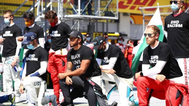 Pilotos da Fórmula 1 se dividiram em protesto antirracista antes de corrida na Áustria