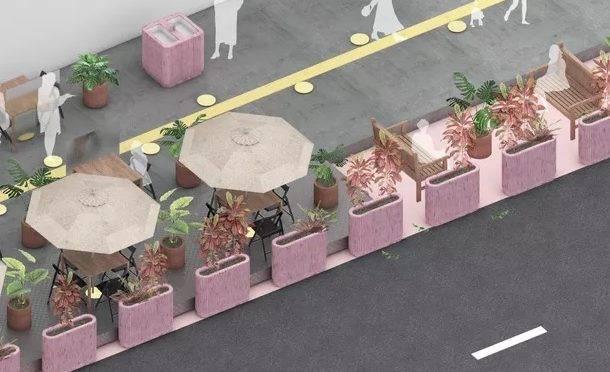 """Projeto """"Ocupa Rua"""", pensado pelo escritório de arquitetura Metro Arquitetos, pode ser o caminho a ser seguido por bares e restaurantes nas grandes cidades brasileiras. Imagem: Metro Arquitetos/Divulgação"""