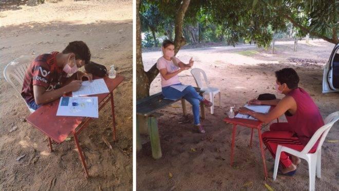 A educadora e intérprete de Libras Joyce Barcelos sabia que o estudante não acompanharia as atividades do ano letivo sem aulas presenciais, então se esforçou para atendê-lo. Foto: Arquivo pessoal