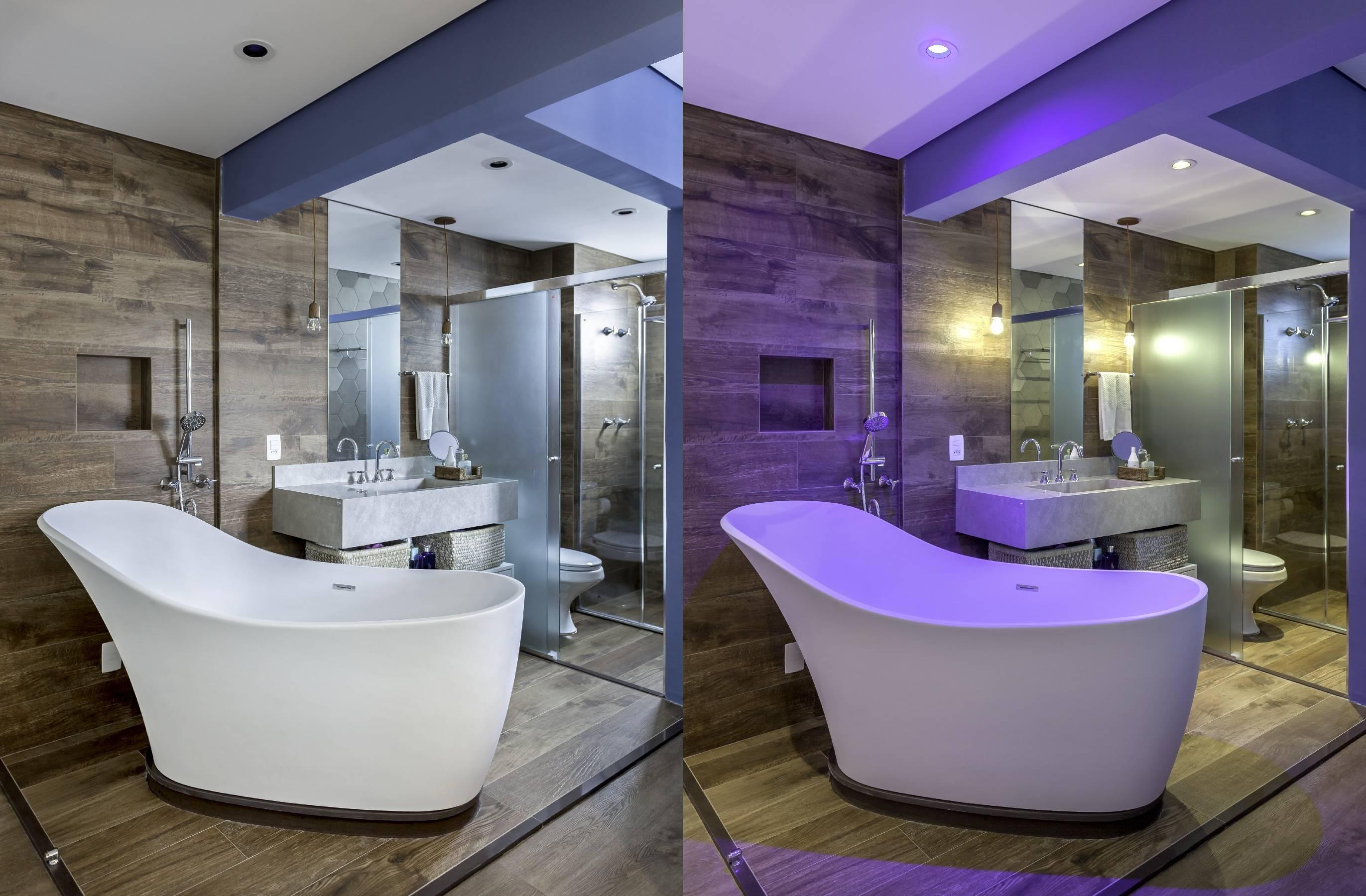 A iluminação azul foi utilizada para tornar o ambiente mais relaxante.