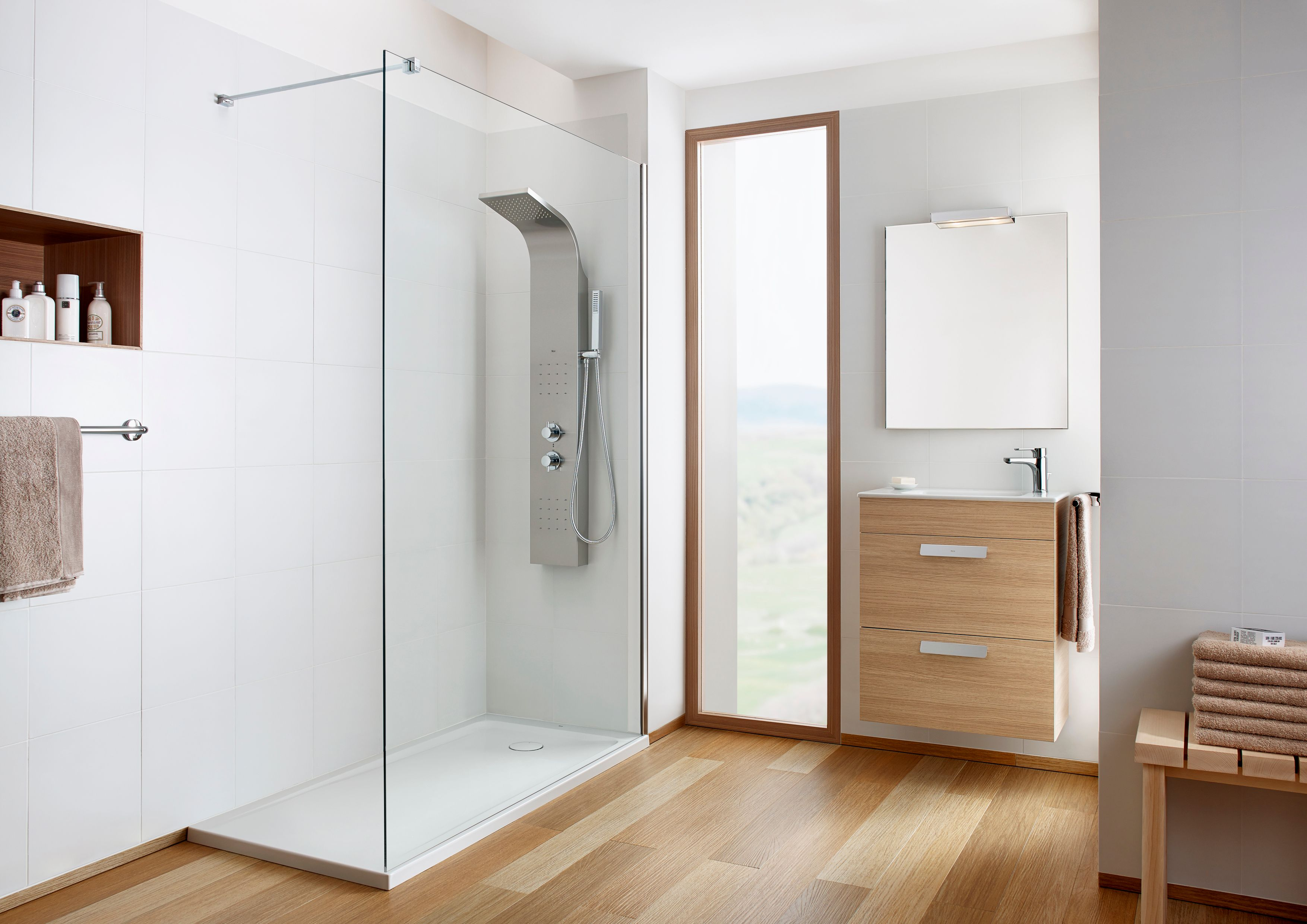 Mais do que um simples chuveiro, as colunas de hidromassagem tornam os banhos mais relaxantes.