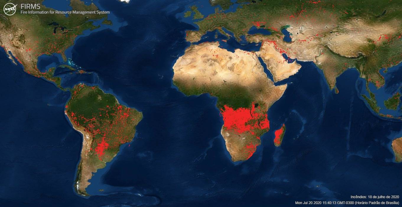 Satélites da Nasa que monitoram focos de incêndio no mundo revelam que a maior concentração de fogo no mundo está na África e não na Amazônia.