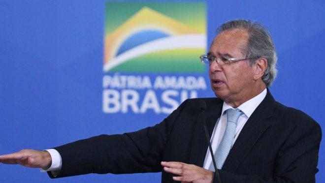 Ministro da Economia, Paulo Guedes, em evento no Palácio do Planalto.