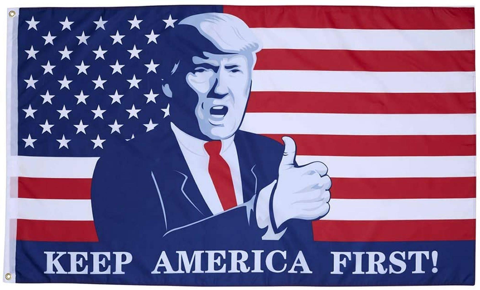 """A campanha """"América em primeiro"""", de Trump."""
