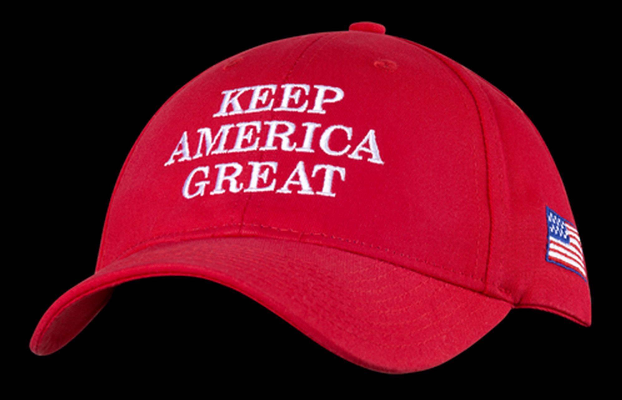 """Material de campanha de Trump com o mote """"Mantenha a América Grande""""."""
