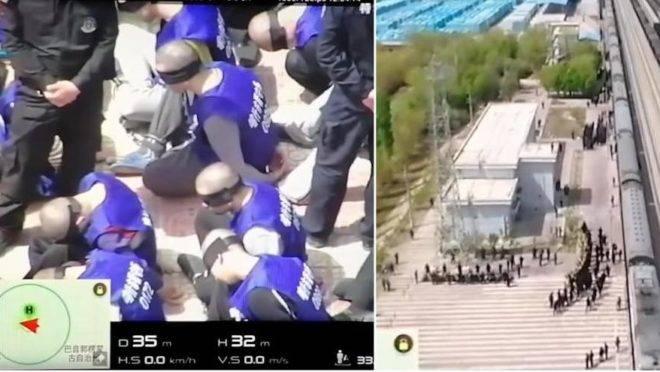 """Um vídeo mostrando centenas de prisioneiros algemados e de olhos vendados sendo embarcados em um trem foi postado no YouTube. As imagens feitas por drones foram filmadas na província chinesa de Xinjiang. O vídeo oferece uma rara visão dos centros de """"reeducação"""" administrados pela China, para onde estão sendo transportados um grande número de muçulmanos uigures"""