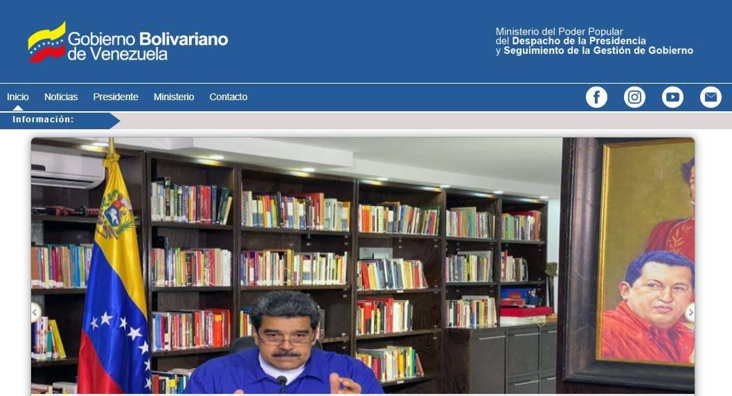 Site oficial do governo da Venezuela